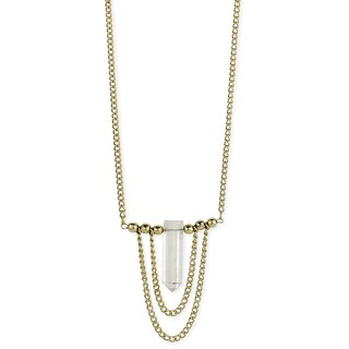 Gold Chain & Clear Crystal Pendant Necklace
