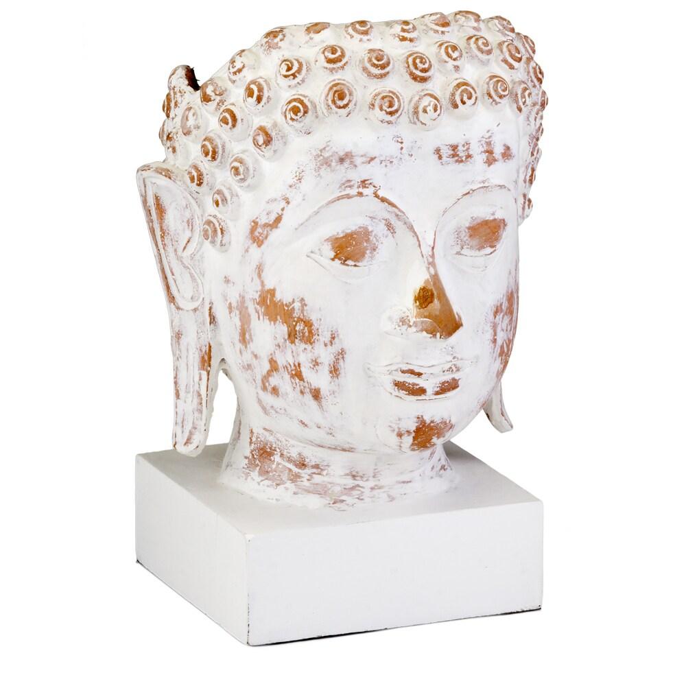Accents Reliquia White Ceramic Buddha Bust (White)