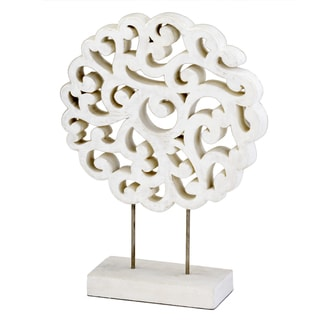 Mantelito White Carved Sculpture