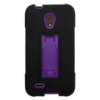 Insten Symbiosis Soft Silicone/ PC Dual Layer Hybrid Rubber Case Cover with Stand For Alcatel One Touch Conquest