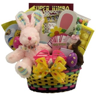 Easter gift baskets for less overstock hoppin easter fun girl childs easter basket ages 3 to 5 years old negle Choice Image