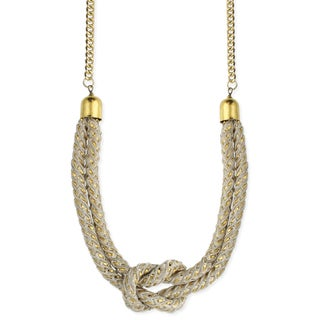 Handmade Ivory Knotted Rope Bib Necklace