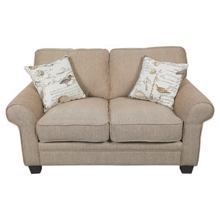 Porter Aviary Roll Arm Sand Beige Upholstered Loveseat with 2 Woven Bird Accent Pillows