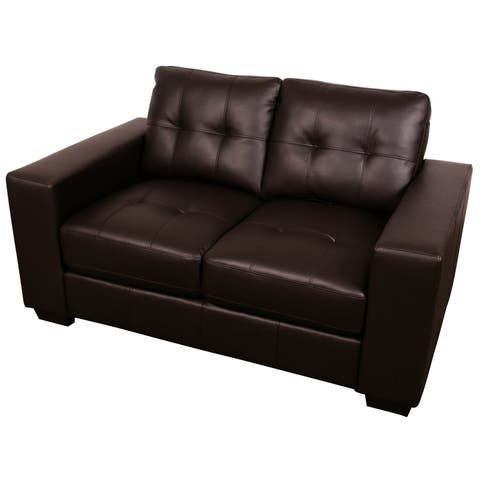 Sitswell Harper Brown Bonded Leather Modern Contemporary Loveseat