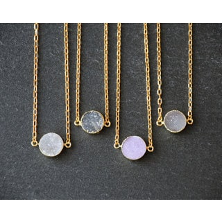 Mint Jules 24k Gold Overlay Agate Druzy Coin Pendant Necklace (20 - 22 inch Adjustable)
