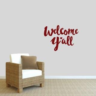 """""""Welcome Ya'll"""" Wall Decal (24"""" x 18"""")"""