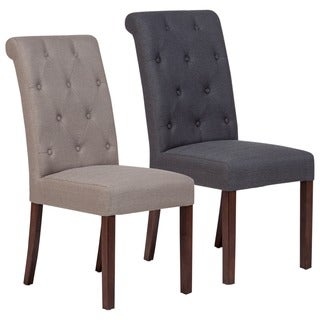 Porter Faye Button Tufted Linen-Look Parsons Dining Chair Set of 2