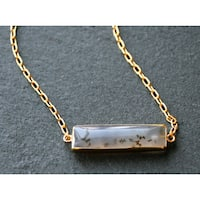 Mint Jules Gold Overlay Speckled Agate Horizontal Bar Necklace (20 - 22 inches Adjustable)