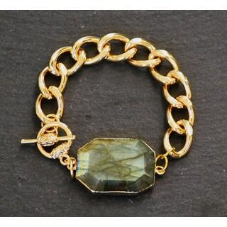 Mint Jules 24k Gold Overlay Faceted Labradorite Stone Chain Bracelet