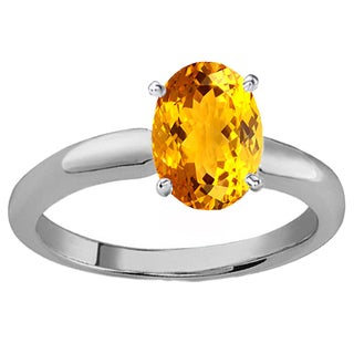 Elora Sterling Silver 8X6 MM Oval Cut Citrine Ladies Solitaire Bridal Engagement Ring (Yellow & Moderately Included)