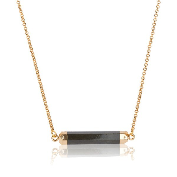 Mint Jules 24k Gold Overlay Labradorite Horizontal Hex Bar Pendant Necklace (19 inches)