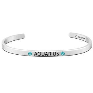 Pink Box Stainless Steel Crystal Accents 'Aquarius' Zodiac Cuff Bracelet