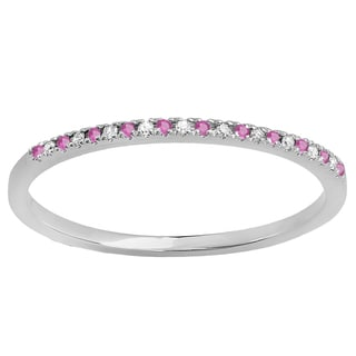 Elora 18k White Gold 1/10 ct. Round Pink Sapphire & White Diamond Wedding Stackable Band (I-J & Pink, I2-I3 & Highly Included)