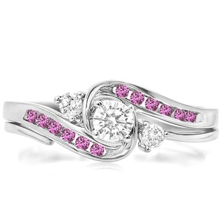 Elora 14k White Gold 1/2 ct Round Pink Sapphire & White Diamond Bridal Engagement Ring Set (H-I & Pink, I1-I2 & Highly Included)