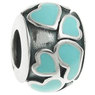 Queenberry Sterling Silver Heart Full of Love Round Light Blue Enamel European Bead Charm