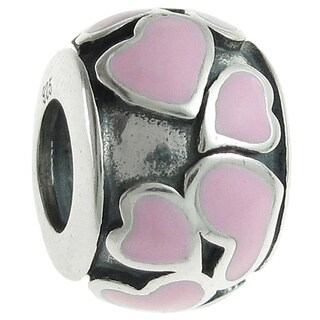 Queenberry Sterling Silver Heart Full of Love Round Pink Enamel European Bead Charm