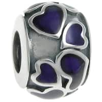 Queenberry Sterling Silver Heart Full of Love Round Purple Enamel European Bead Charm