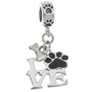 Queenberry Sterling Silver Love Dog Puppy Footprint Bone Black Enamel Dangle European Bead Charm|https://ak1.ostkcdn.com/images/products/14330900/P20909870.jpg?impolicy=medium