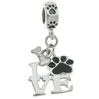 Queenberry Sterling Silver Love Dog Puppy Footprint Bone Black Enamel Dangle European Bead Charm