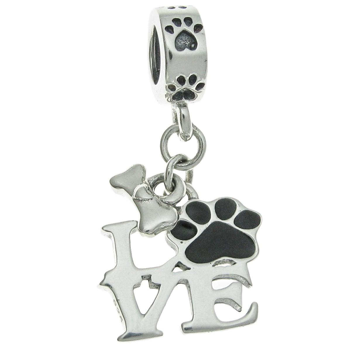 /'Love DOG/' Bone Bead Charm Fits European Bracelets /& Necklace