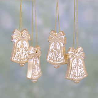 Set of 4 Handmade Ceramic 'Floral Bells' Ornaments (India)