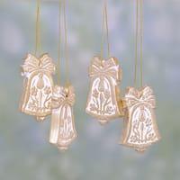 Set of 4 Handmade Ceramic 'Floral Bells' Ornaments (India)