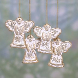 Set of 4 Handmade Ceramic 'Holy Messengers' Ornaments (India)