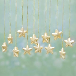 Set of 12 Handmade Ceramic 'Glittering Stars' Ornaments (India)