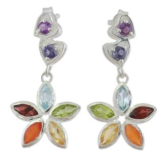Handcrafted Sterling Silver 'Floral Hearts' Multi-gemstone Earrings (India)