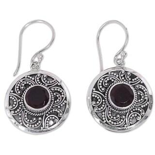 Handcrafted Sterling Silver 'Balinese Aura' Garnet Earrings (Indonesia)