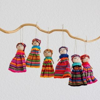 Set of 6 Handcrafted Cotton 'Worry Dolls Share the Love' Ornaments (Guatemala)