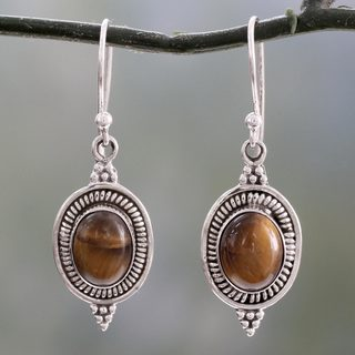 Handcrafted Sterling Silver 'Natural Delight' Tiger's Eye Earrings (India)