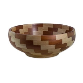 Handcrafted Mahogany Wood 'Stairway of Nature' Bowl (Guatemala)