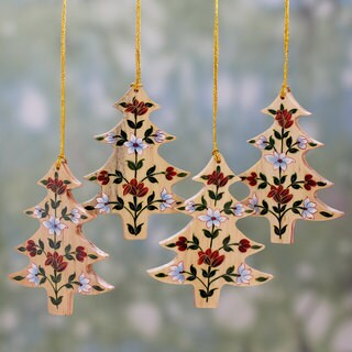 Set of 4 Handmade Kali Wood 'Floral Pine' Ornaments (India)