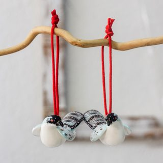 Set of 2 Handcrafted Ceramic 'Happy Azure-rumped Tanagers' Ornaments (Guatemala)