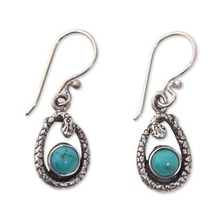 Handcrafted Sterling Silver 'Blue Cobra' Turquoise Earrings (Indonesia)