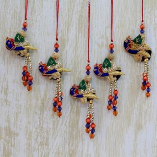 Set of 5 Handmade Cotton Blend 'Dancing Peacocks' Ornaments (India)