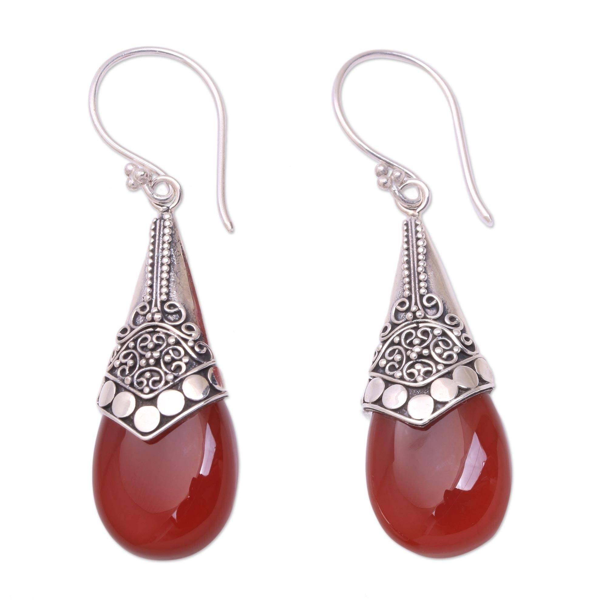 Red Garnet Cone Shaped Sterling Silver Earrings