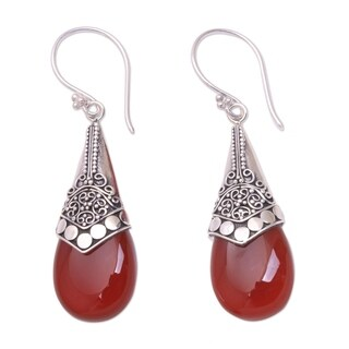 Handcrafted Sterling Silver 'Puncak Jaya in Red' Chalcedony Earrings (Indonesia)