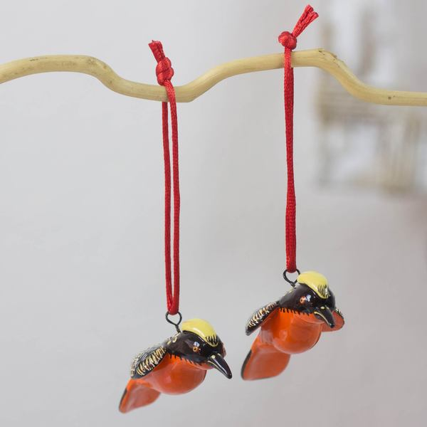 Handmade Yellow-Crested Woodpecker Ornament, Set of 2 (Guatemala)