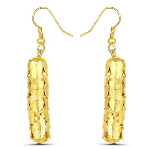 Liliana Bella Goldtone Handmade Fish Hook Dangle Earrings - Orange