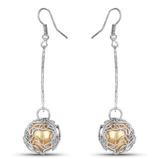 Liliana Bella Yellow Stone and Silver Metal Handmade Dangle Drop Earrings