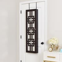 Modern Jewelry Armoire with Decorative Mirror