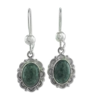 Handcrafted Sterling Silver 'Dark Green Forest Princess' Jade Earrings (Guatemala)