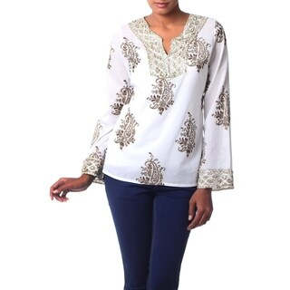 Handmade Beaded Cotton 'Festive Floral Paisley' Tunic (India)