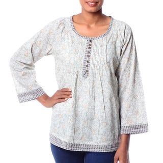 Handcrafted Cotton 'Rajasthan Grace' Blouse (India)