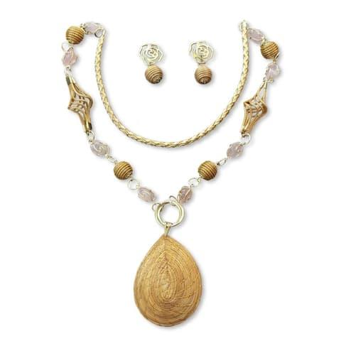 Handmade Golden Grass 'Jalap o Romance' Rose Quartz Jewelry Set (Brazil)