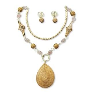 Handcrafted Golden Grass 'Jalapo Romance' Rose Quartz Jewelry Set (Brazil)