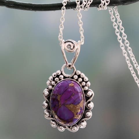 Handmade Sterling Silver 'Purple Heavens' Composite Turquoise Necklace (India)