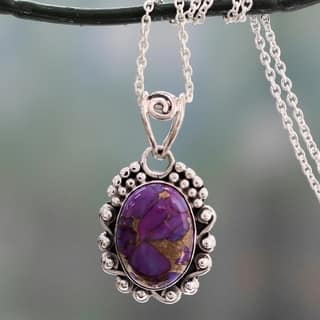 Turquoise purple jewelry shop our best jewelry watches deals handmade sterling silver purple heavens composite turquoise necklace aloadofball Gallery
